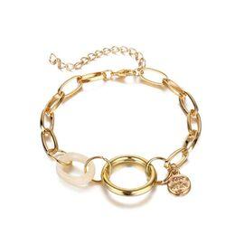 Браслет крупная цепь с кольцом, золотой цвет #1