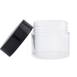 Баночка прозрачная, тара пластиковая, черная крышка, 10 г #1