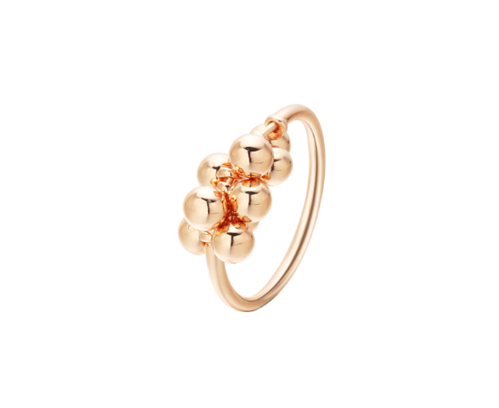 """Минималистичное кольцо с подвесками """"Бусинки"""", золотистое #1"""