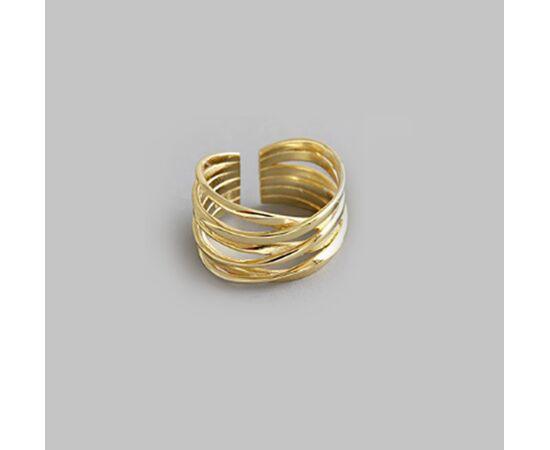 """Минималистичное кольцо """"Волны"""", золотистое #1"""