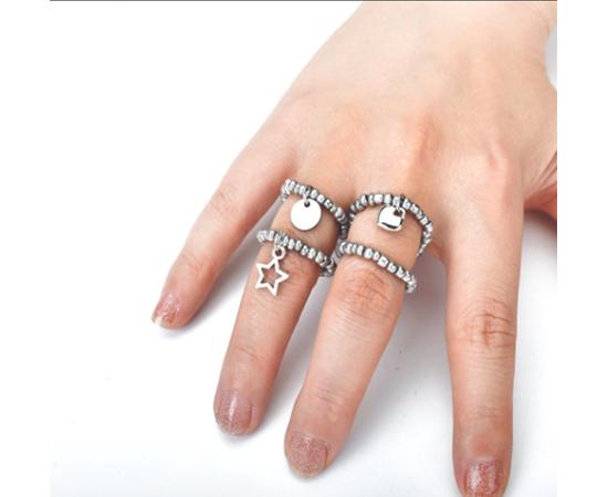 """Кольцо-подвеска """"Сердечко"""", серебристый цвет #1"""