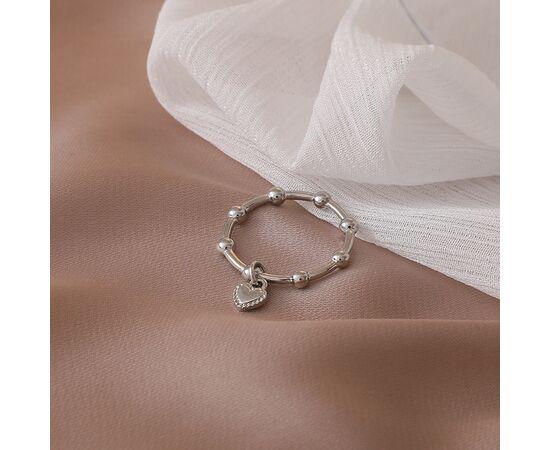 Минималистичное кольцо с подвеской, серебряное #1