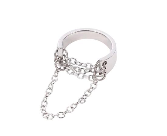 Кольцо с цепями, серебристый цвет #1